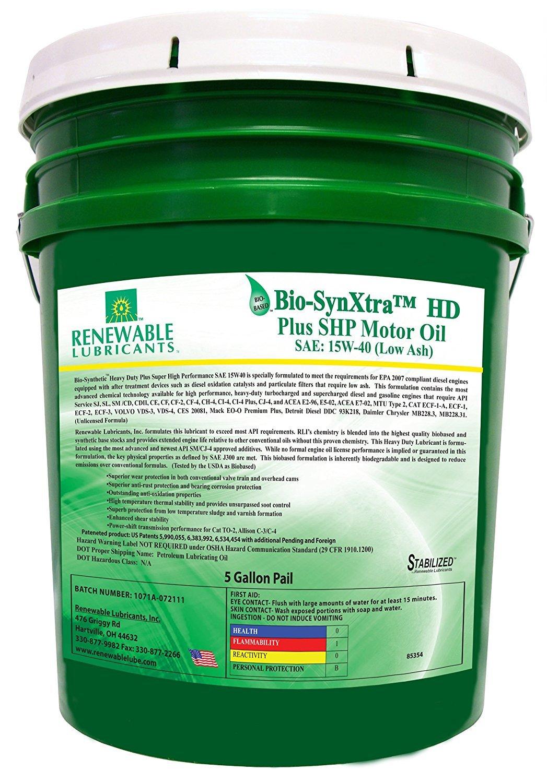 Renewable Lubricants Bio Synxtra Plus 15w 40 Low Ash 5